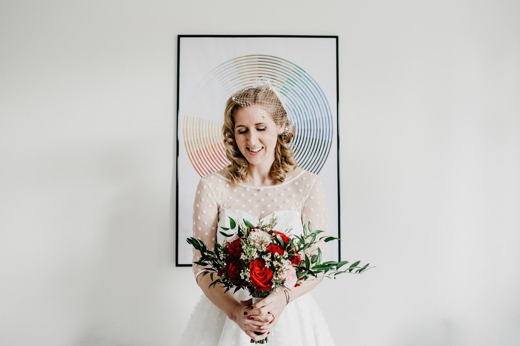 colourful symmetrical bride photo